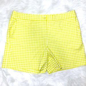 NWOT J McLaughlin Gingham Lime Green Shorts